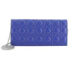 Christian Dior Lady Dior Chain Convertible Clutch Cannage Quilt Leather Long