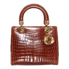 "Christian Dior ""Lady Dior"" Chestnut Crocodile bag C. 2014"