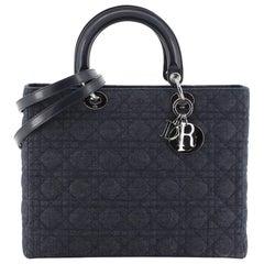 Christian Dior Lady Dior Handbag Cannage Quilt Denim Large