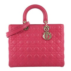 Christian Dior Lady Dior Handbag Cannage Quilt Lambskin Large