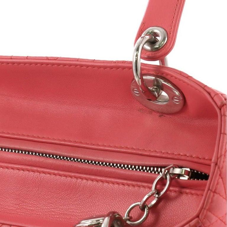 Christian Dior Lady Dior Handbag Cannage Quilt Lambskin Medium For Sale 5