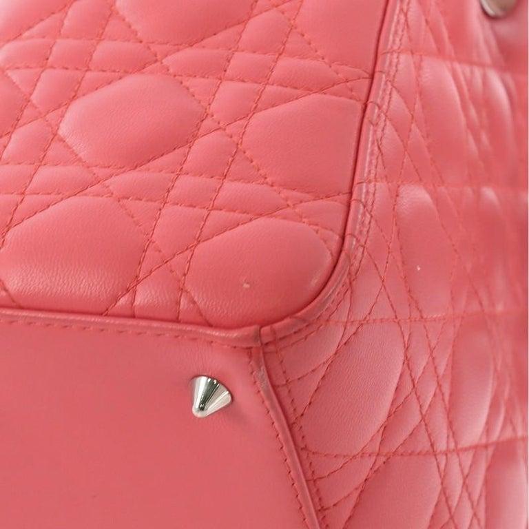 Christian Dior Lady Dior Handbag Cannage Quilt Lambskin Medium For Sale 6