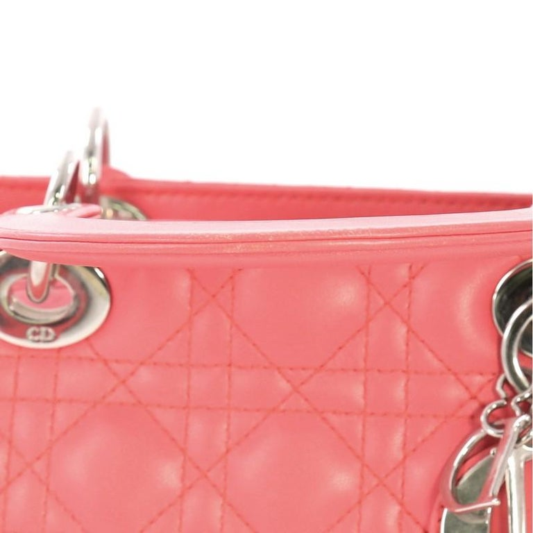 Christian Dior Lady Dior Handbag Cannage Quilt Lambskin Medium For Sale 7