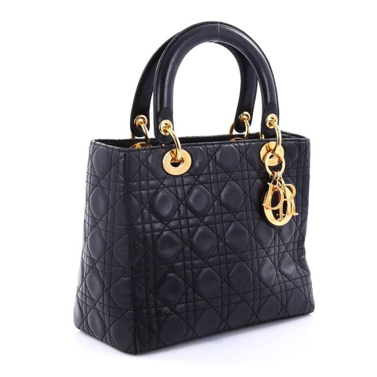 73ef99fbad9b Black Christian Dior Lady Dior Handbag Cannage Quilt Lambskin Medium For  Sale