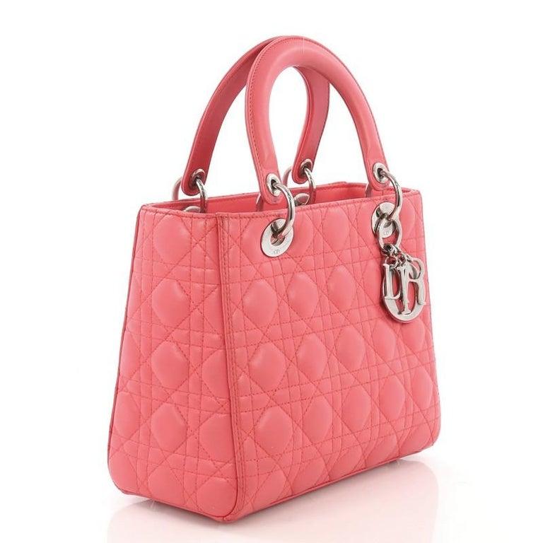 Pink Christian Dior Lady Dior Handbag Cannage Quilt Lambskin Medium For Sale