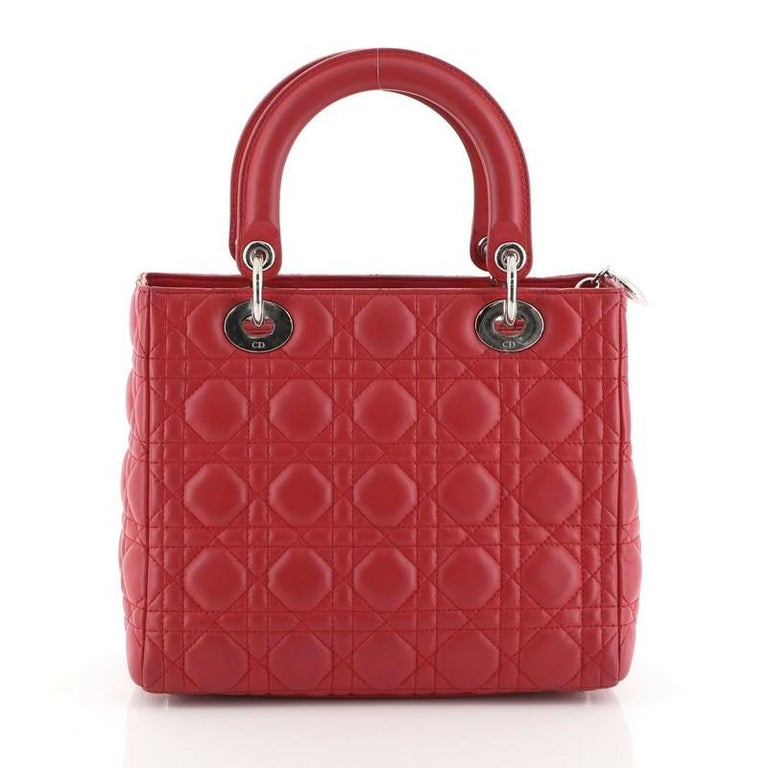 Red Christian Dior Lady Dior Handbag Cannage Quilt Lambskin Medium For Sale