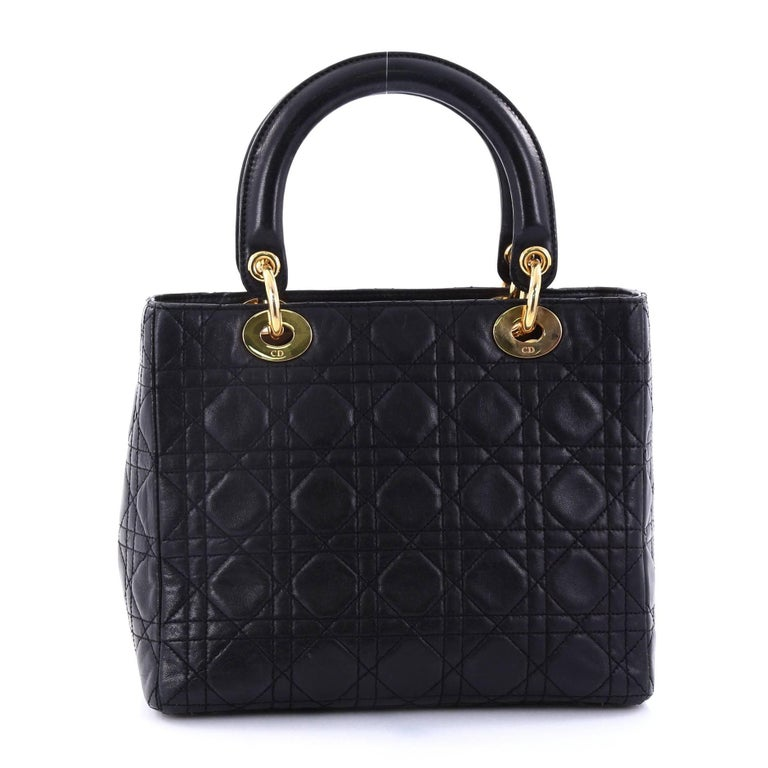 9e70361ce0a9 Christian Dior Lady Dior Handbag Cannage Quilt Lambskin Medium In Good  Condition For Sale In New