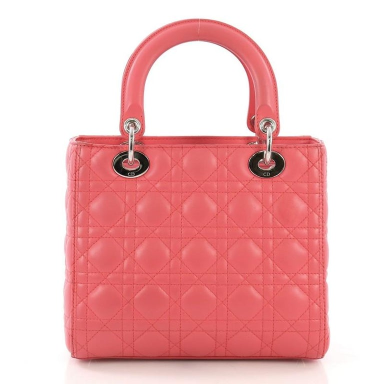 Christian Dior Lady Dior Handbag Cannage Quilt Lambskin Medium In Good Condition For Sale In New York, NY