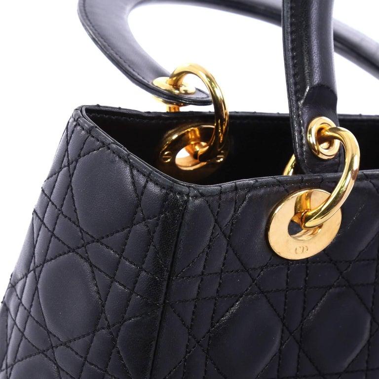 97cf7df8f293 Christian Dior Lady Dior Handbag Cannage Quilt Lambskin Medium For Sale 1