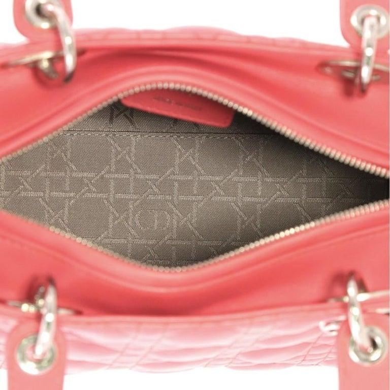 Christian Dior Lady Dior Handbag Cannage Quilt Lambskin Medium For Sale 1