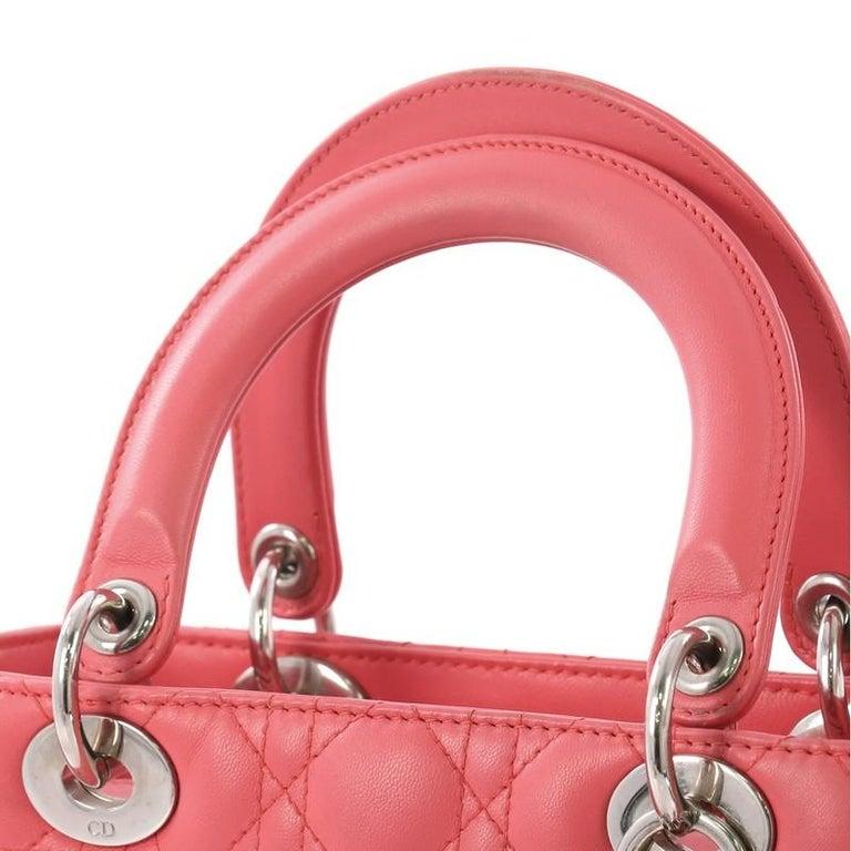 Christian Dior Lady Dior Handbag Cannage Quilt Lambskin Medium For Sale 2