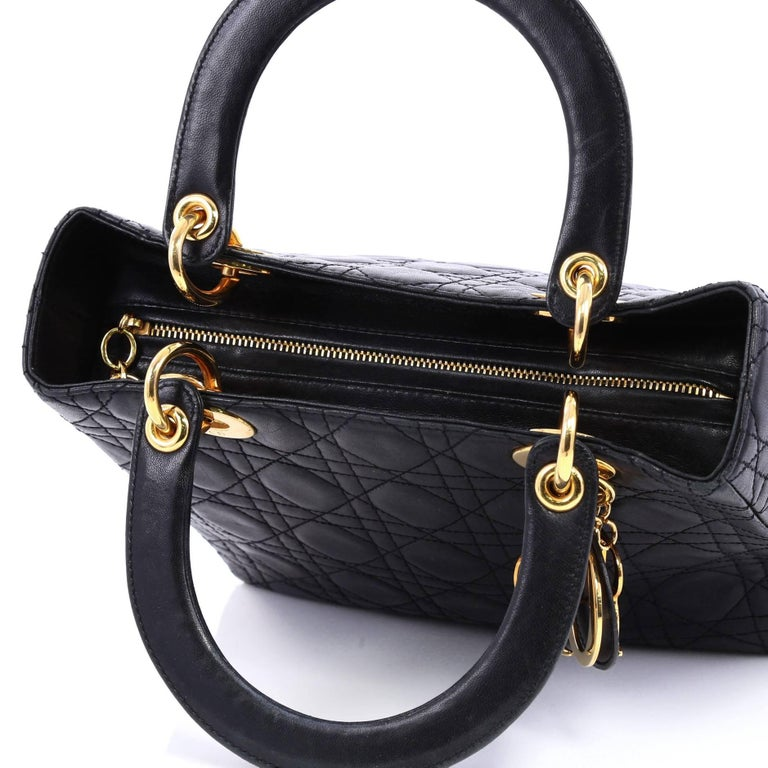f3a04ad2583e Christian Dior Lady Dior Handbag Cannage Quilt Lambskin Medium For Sale 3