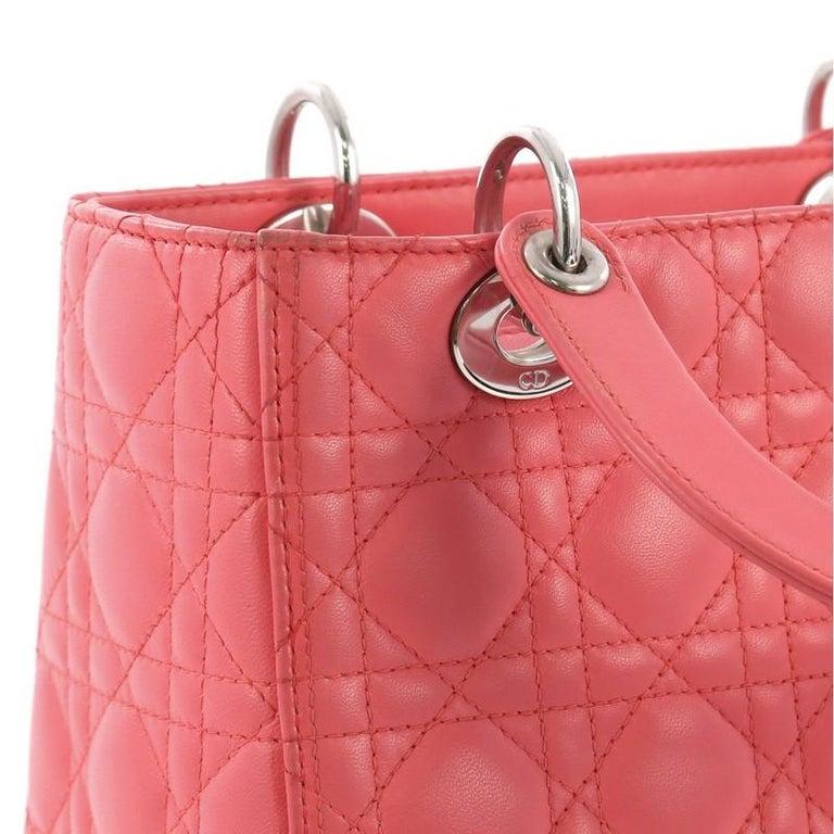 Christian Dior Lady Dior Handbag Cannage Quilt Lambskin Medium For Sale 3