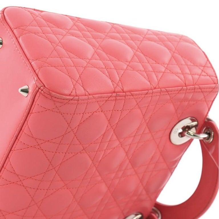 Christian Dior Lady Dior Handbag Cannage Quilt Lambskin Medium For Sale 4