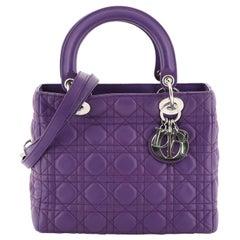 Christian Dior Lady Dior Handbag Cannage Quilt Lambskin Medium