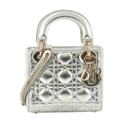 Christian Dior Lady Dior Handbag Cannage Quilt Lambskin Mini