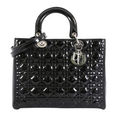 Christian Dior Lady Dior Handbag Cannage Quilt Patent Large