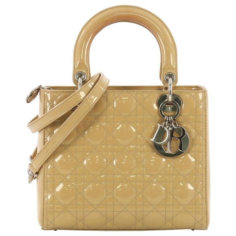 Christian Dior Lady Dior Handbag Cannage Quilt Patent Medium For Sale 0bc6b2223425c