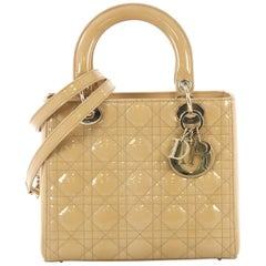 Christian Dior Lady Dior Handbag Cannage Quilt Patent Medium