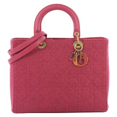 Christian Dior Lady Dior Handbag Cannage Quilt Tweed Large