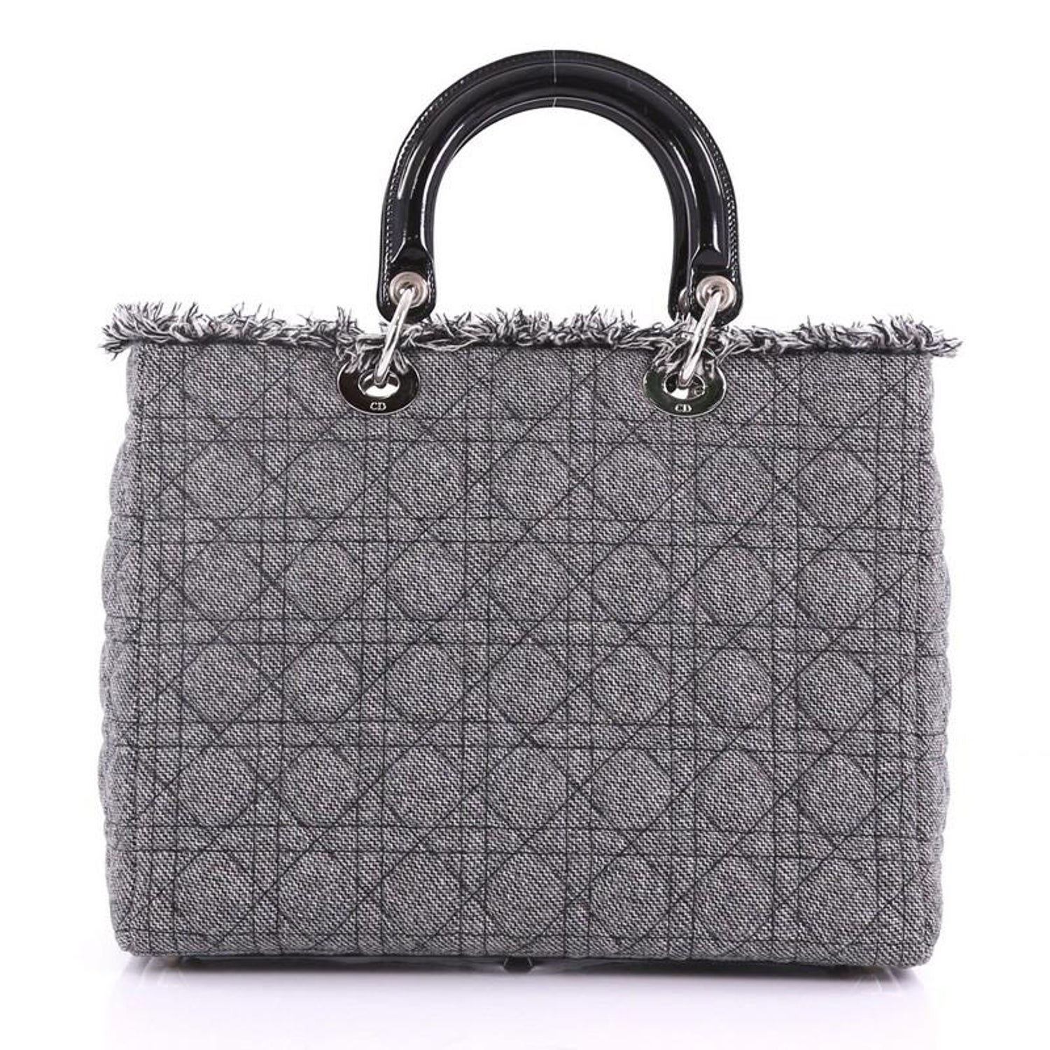 ffb0022922 Christian Dior Lady Dior Handbag Cannage Quilt Tweed with Patent Large For  Sale at 1stdibs