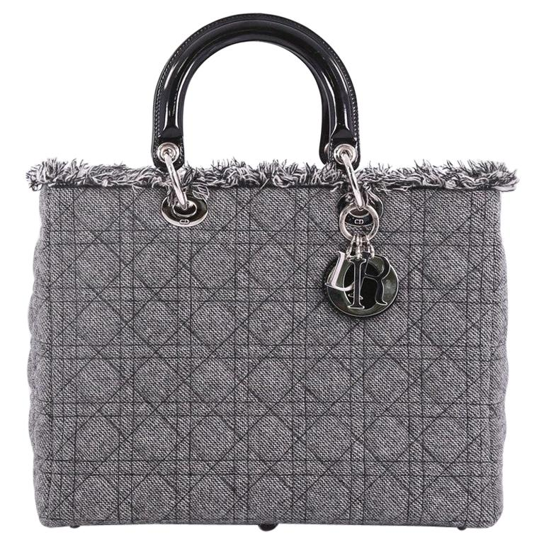 d50056ca08 Christian Dior Lady Dior Handbag Cannage Quilt Tweed with Patent Large For  Sale