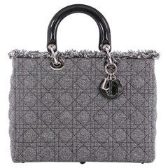 Christian Dior Lady Dior Handbag Cannage Quilt Tweed with Patent Large