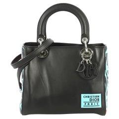 Christian Dior Lady Dior Handbag Leather with Printed Detail Medium