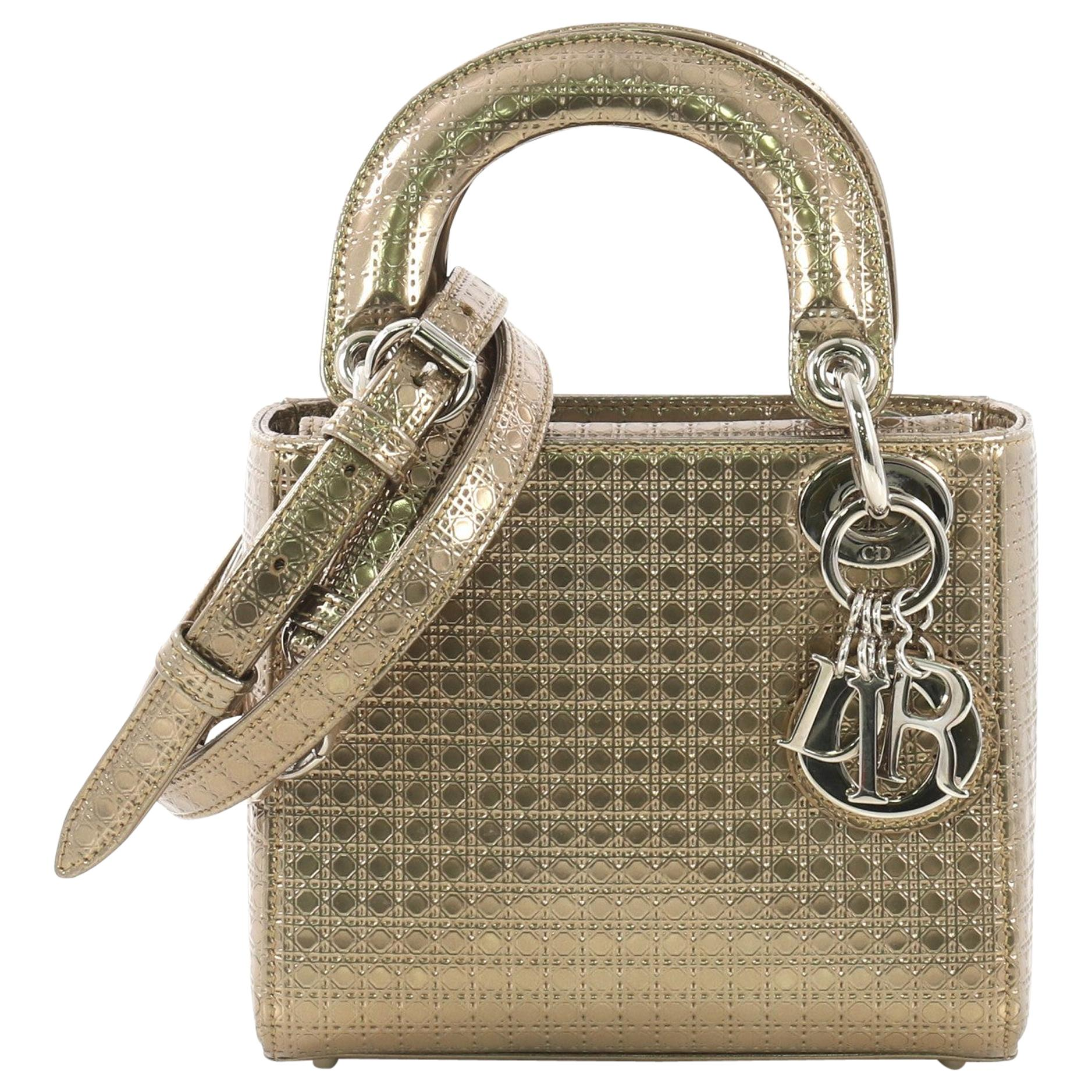 bf833c152 Christian Dior Lady Dior Handbag Micro Cannage Perforated Calfskin Micro at  1stdibs