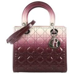 Christian Dior Lady Dior Handbag Ombre Cannage Quilt Patent Medium