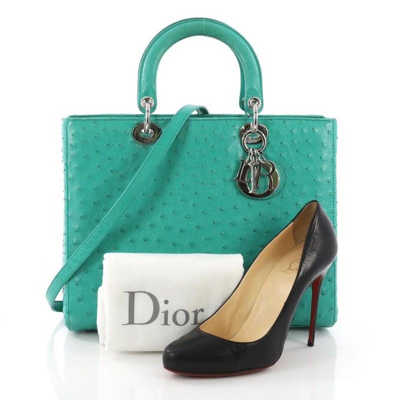 678d0a3e41d Christian Dior Lady Dior Handbag Ostrich Large at 1stdibs