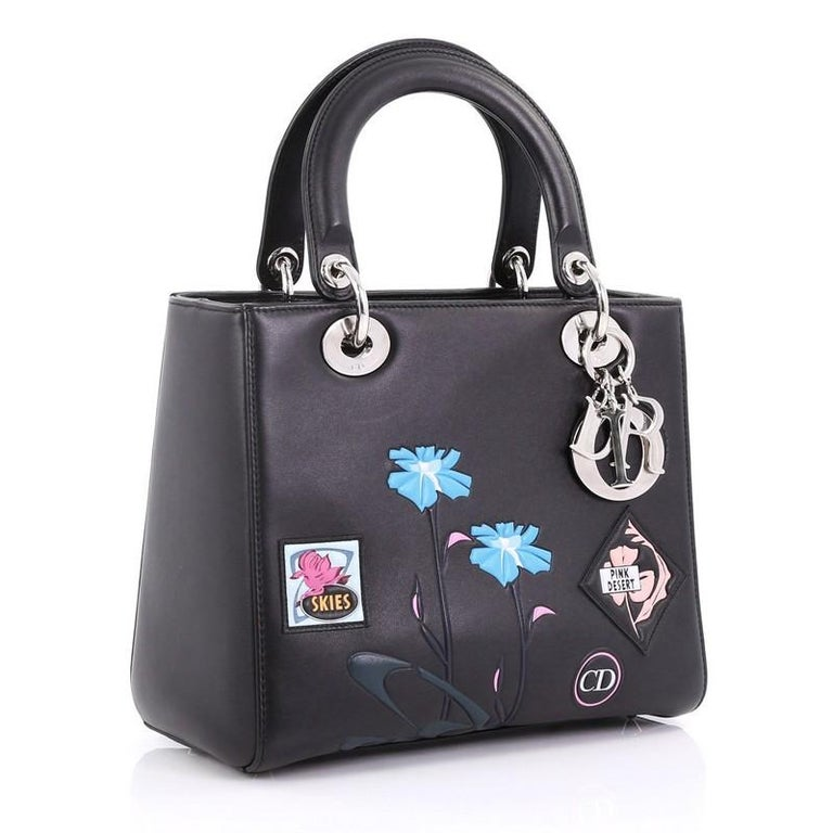 Black Christian Dior Lady Dior Handbag Patch Embellished Leather Medium For  Sale 1150e42110e6b
