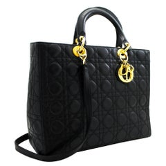 Christian Dior Lady Dior Large Cannage 2way Shoulder Bag Handbag Black Purse