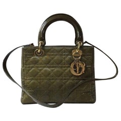Christian Dior Lady Dior Medium Khaki Canvas Bag