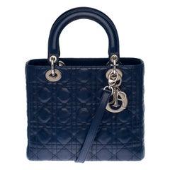 Christian Dior Lady Dior Medium size handbag in navy blue cannage leather, GHW