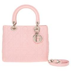 Christian Dior Lady Dior Medium size handbag in Pink cannage leather, SHW