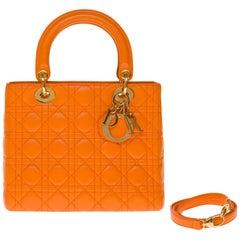 Christian Dior Lady Dior Medium size handbag in Pumpkin cannage leather, GHW