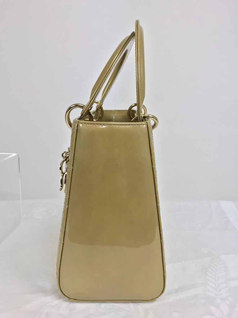 Brown Christian Dior Lady Dior metallic golden handbag with gold hardware medium For Sale