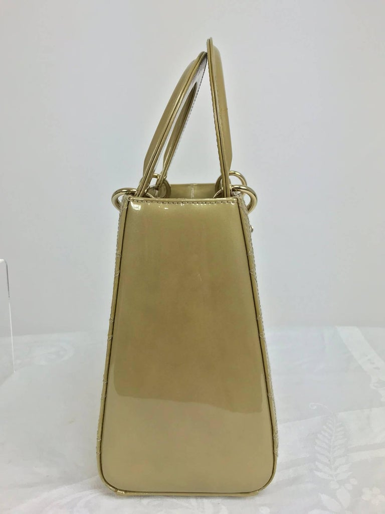 Christian Dior Lady Dior metallic golden handbag with gold hardware medium In Excellent Condition For Sale In West Palm Beach, FL