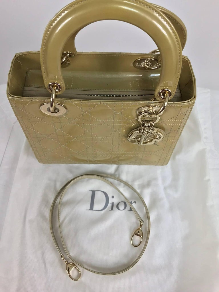 Christian Dior Lady Dior metallic golden handbag with gold hardware medium For Sale 4