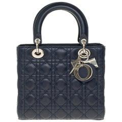 Christian Dior Lady Dior MM (Medium size) handbag in black cannage leather, SHW