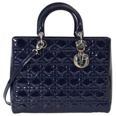 Christian Dior Lady Dior Patent Blue Large