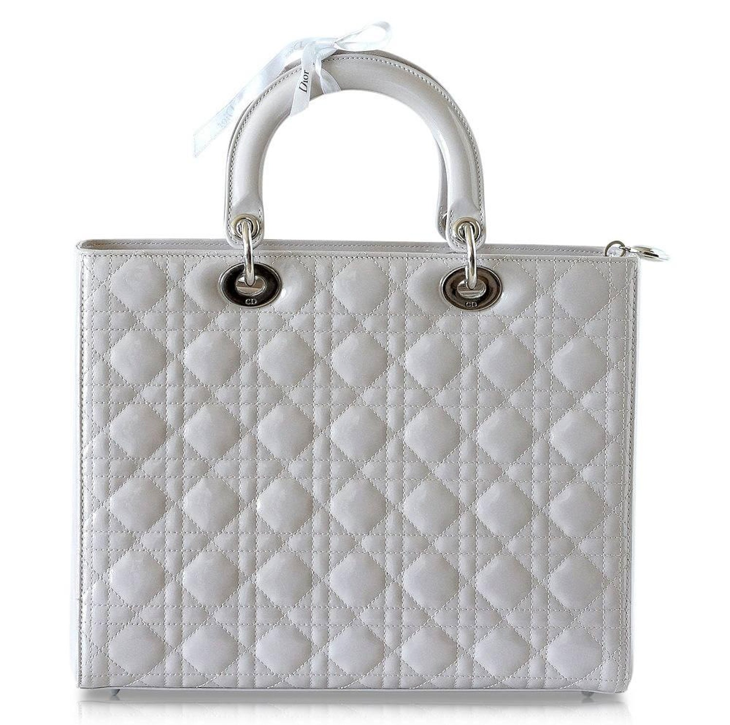 6b1612cb34 Christian Dior Lady Dior Pearl Grey Quilted Cannage Large New w/ Box For  Sale at 1stdibs