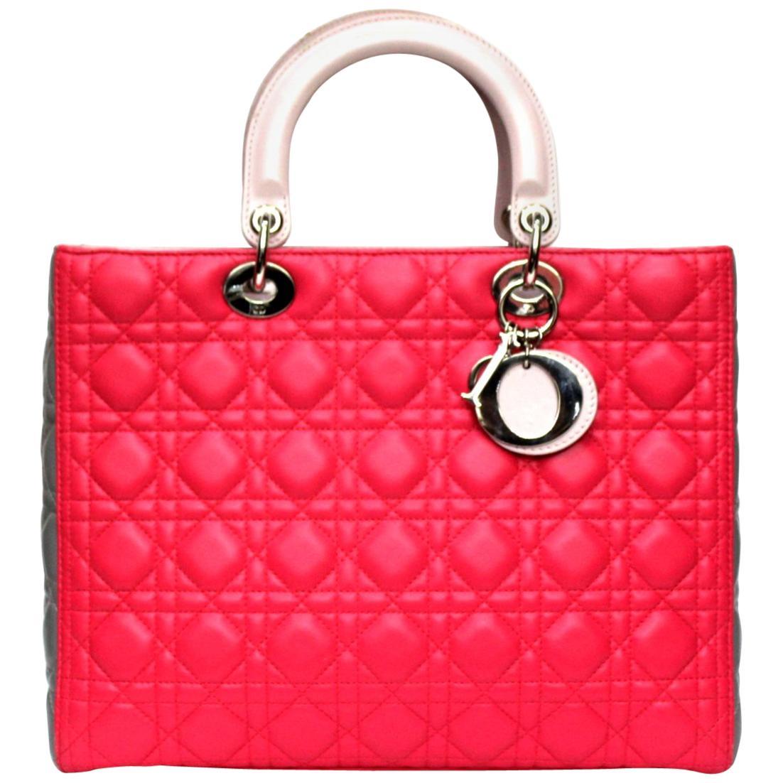 Christian Dior Lady Dior Tri-color Tote Bag