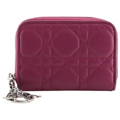 Christian Dior Lady Dior Zip Around Wallet Cannage Quilt Lambskin Compact