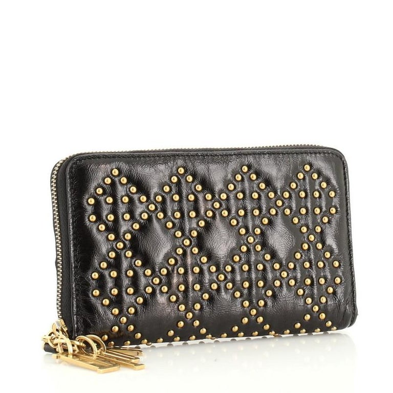 Christian Dior Lady Dior Zip Around Wallet Cannage Studded Leather In Good Condition For Sale In New York, NY