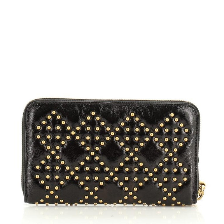 Women's or Men's Christian Dior Lady Dior Zip Around Wallet Cannage Studded Leather For Sale
