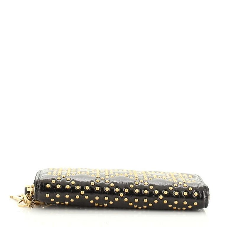 Christian Dior Lady Dior Zip Around Wallet Cannage Studded Leather For Sale 1