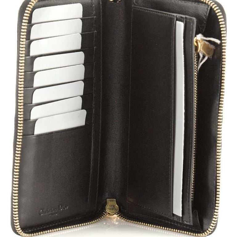 Christian Dior Lady Dior Zip Around Wallet Cannage Studded Leather For Sale 2