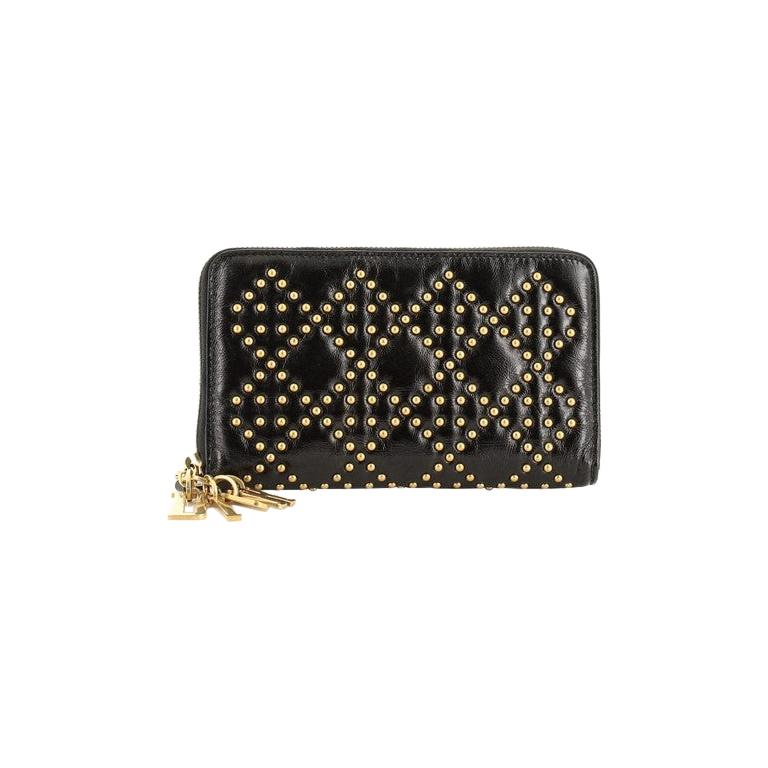 Christian Dior Lady Dior Zip Around Wallet Cannage Studded Leather For Sale